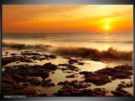 Foto canvas schilderij Zee | Bruin, Geel, Oranje