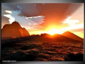 Foto canvas schilderij Zonsondergang | Geel, Bruin, Oranje