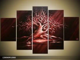 Acryl Schilderij Modern | Rood, Zwart | 150x70cm 5Luik Handgeschilderd