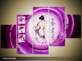 Acryl Schilderij Modern | Paars, Wit | 150x70cm 5Luik Handgeschilderd