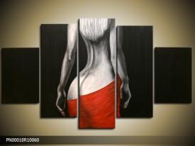 Acryl Schilderij Kunst, Sexy | Zwart, Rood, Grijs | 150x70cm 5Luik Handgeschilderd