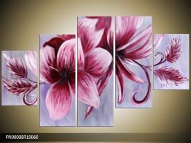 Acryl Schilderij Modern | Paars, Roze, Grijs | 150x70cm 5Luik Handgeschilderd