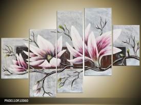 Acryl Schilderij Magnolia | Grijs, Roze | 150x70cm 5Luik Handgeschilderd