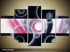 Acryl Schilderij Modern | Roze, Wit, Zwart | 150x70cm 5Luik Handgeschilderd