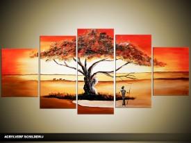 Acryl Schilderij Natuur | Rood, Oranje, Bruin | 150x70cm 5Luik Handgeschilderd