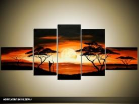 Acryl Schilderij Natuur | Zwart, Oranje | 170x70cm 5Luik Handgeschilderd