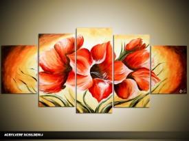 Acryl Schilderij Magnolia | Rood, Geel, Oranje | 150x70cm 5Luik Handgeschilderd