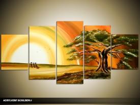Acryl Schilderij Zonsondergang   Geel, Bruin, Groen   150x70cm 5Luik Handgeschilderd