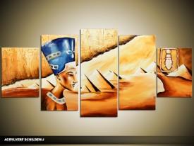 Acryl Schilderij Egypte | Bruin, Crème, Blauw | 150x70cm 5Luik Handgeschilderd