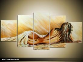 Acryl Schilderij Art | Bruin, Crème | 150x70cm 5Luik Handgeschilderd