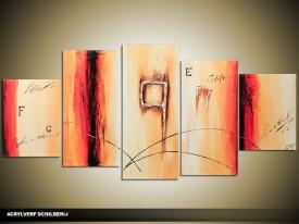 Acryl Schilderij Modern | Rood, Crème | 150x70cm 5Luik Handgeschilderd