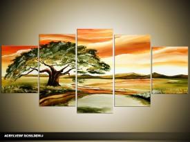 Acryl Schilderij Natuur | Groen, Oranje | 150x70cm 5Luik Handgeschilderd