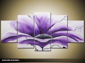 Acryl Schilderij Modern | Paars, Grijs | 150x70cm 5Luik Handgeschilderd