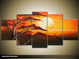 Acryl Schilderij Zonsondergang | Oranje, Bruin | 150x70cm 5Luik Handgeschilderd