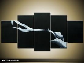 Acryl Schilderij Modern | Zwart | 150x70cm 5Luik Handgeschilderd