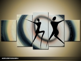 Acryl Schilderij Modern | Zwart, Grijs | 150x70cm 5Luik Handgeschilderd