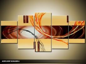 Acryl Schilderij Modern | Bruin, Geel | 150x70cm 5Luik Handgeschilderd