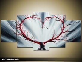 Acryl Schilderij Modern | Rood, Grijs | 150x70cm 5Luik Handgeschilderd