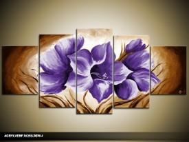 Acryl Schilderij Magnolia | Paars, Bruin | 150x70cm 5Luik Handgeschilderd
