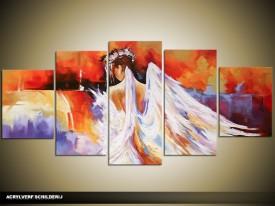 Acryl Schilderij Natuur | Wit, Oranje | 150x70cm 5Luik Handgeschilderd