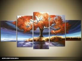 Acryl Schilderij Natuur | Blauw, Oranje | 150x70cm 5Luik Handgeschilderd