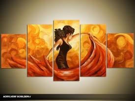 Acryl Schilderij Sexy | Oranje, Bruin | 150x70cm 5Luik Handgeschilderd