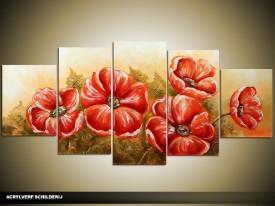 Acryl Schilderij Klaproos | Groen, Rood | 150x70cm 5Luik Handgeschilderd