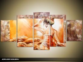Acryl Schilderij Sexy | Geel, Bruin | 150x70cm 5Luik Handgeschilderd