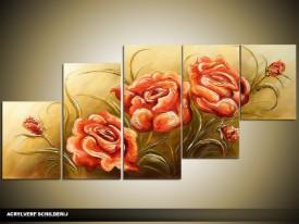 Acryl Schilderij Roos | Groen, Oranje | 150x70cm 5Luik Handgeschilderd