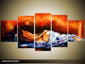 Acryl Schilderij Sexy | Oranje, Blauw | 150x70cm 5Luik Handgeschilderd