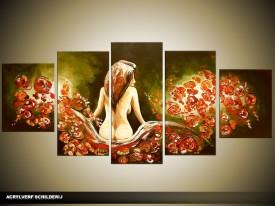 Acryl Schilderij Slaapkamer | Groen, Bruin | 150x70cm 5Luik Handgeschilderd
