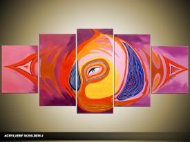Acryl Schilderij Modern | Paars, Geel, Roze | 150x70cm 5Luik Handgeschilderd