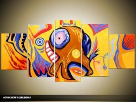Acryl Schilderij Modern | Geel, Bruin | 150x70cm 5Luik Handgeschilderd