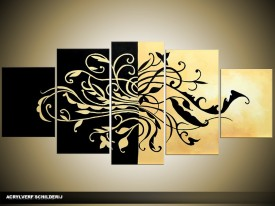 Acryl Schilderij Modern | Zwart, Crème | 150x70cm 5Luik Handgeschilderd
