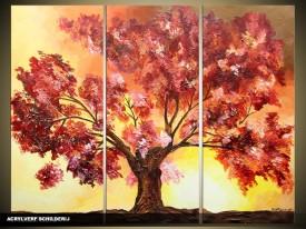Acryl Schilderij Boom | Geel, Bruin | 120x80cm 3Luik Handgeschilderd