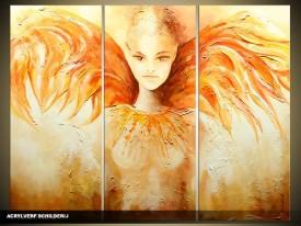 Acryl Schilderij Modern   Geel, Oranje   120x80cm 3Luik Handgeschilderd