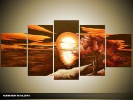 Acryl Schilderij Natuur | Oranje, Bruin | 150x70cm 5Luik Handgeschilderd