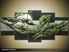 Acryl Schilderij Natuur | Groen, Grijs | 150x70cm 5Luik Handgeschilderd