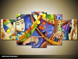 Acryl Schilderij Modern | Blauw, Groen, Geel | 150x70cm 5Luik Handgeschilderd