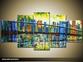 Acryl Schilderij Modern | Blauw, Groen | 150x70cm 5Luik Handgeschilderd