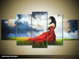 Acryl Schilderij Modern | Grijs, Rood | 150x70cm 5Luik Handgeschilderd