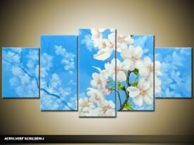 Acryl Schilderij Woonkamer | Blauw, Wit | 150x70cm 5Luik Handgeschilderd