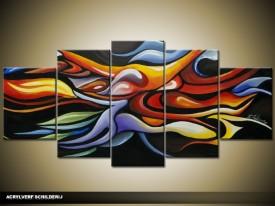 Acryl Schilderij Modern | Zwart, Rood, Geel | 150x70cm 5Luik Handgeschilderd
