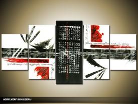 Acryl Schilderij Modern | Zwart, Wit, Rood | 150x70cm 5Luik Handgeschilderd