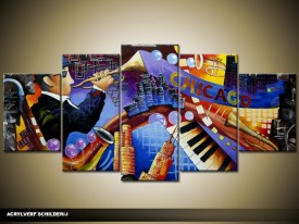 Acryl Schilderij Modern | Blauw, Rood | 150x70cm 5Luik Handgeschilderd