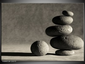 Glas schilderij Stenen | Zwart, Grijs, Wit
