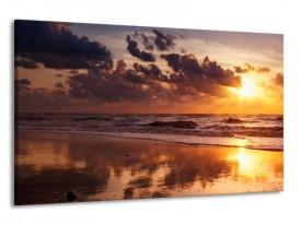 Glas schilderij Zee | Geel, Bruin, Paars | 120x70cm 1Luik
