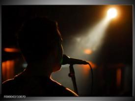 Glas schilderij Muziek | Zwart, Oranje, Wit
