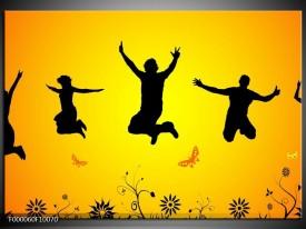 Glas schilderij Dansen   Geel, Zwart,