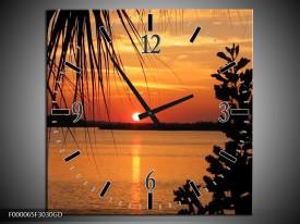 Wandklok op Glas Zonsondergang | Kleur: Oranje, Zwart, Geel | F000065CGD